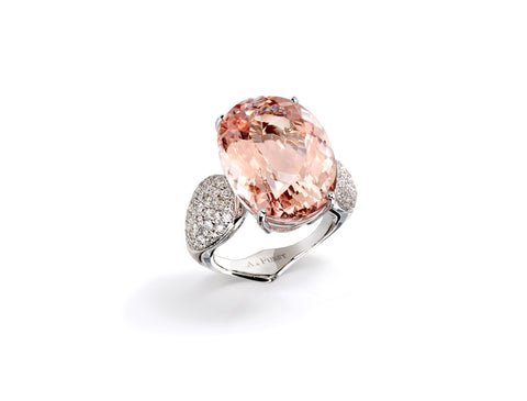 "A & Furst ""Fleur de Lys"" Cocktail Ring with Morganite and Diamonds, 18k White Gold."