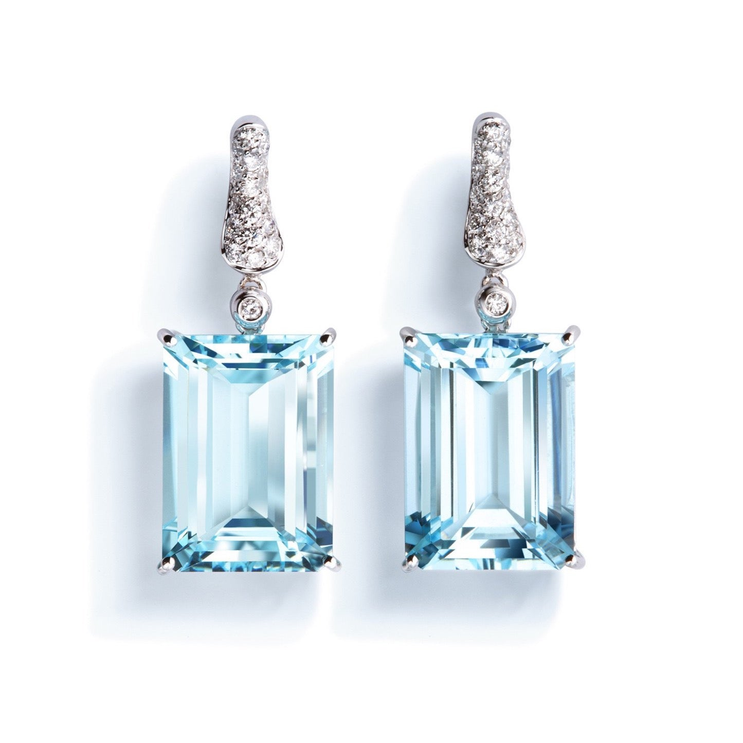 "A & Furst ""Fleur de Lys"" Earrings with Aquamarine and Diamonds, 18k White Gold"