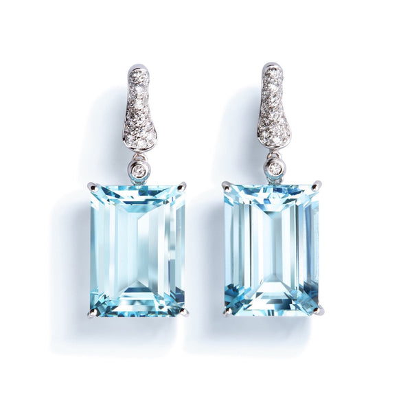 A & Furst - Fleur de Lys - Earrings with Aquamarine and Diamonds, 18k White Gold