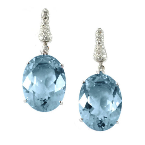"A & Furst ""Fleur de Lys"" Drop Earrings with Blue Topaz and Diamonds, 18k White Gold."