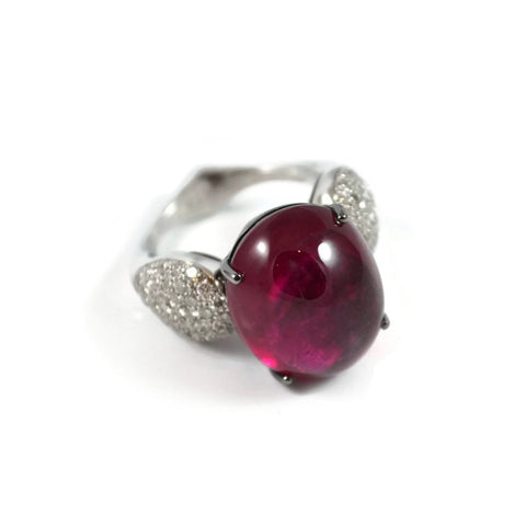"A & Furst ""Fleur de Lys"" Ring with Rubellite and Diamonds, 18k White Gold."