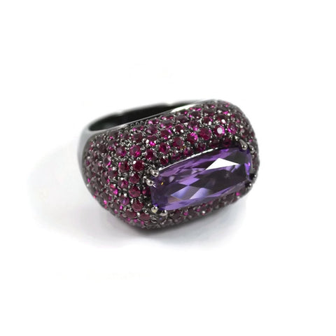 "A & Furst "" Follia "" Ring with Amethsyt and Rubies, 18k White Gold with Black Rhodium."