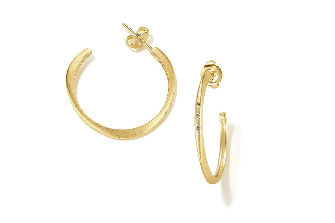 "Sandy Leong ""Halo"" Small Hoop Earrings with Champagne Diamonds, 18k Yellow Gold."
