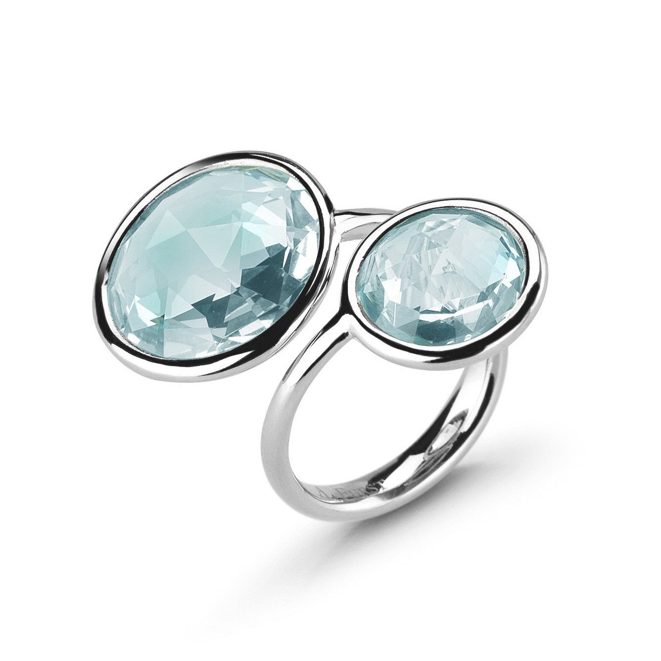 "A & Furst ""Jicky"" ""Toi et Moi"" Ring with Blue Topaz, 18k White Gold."
