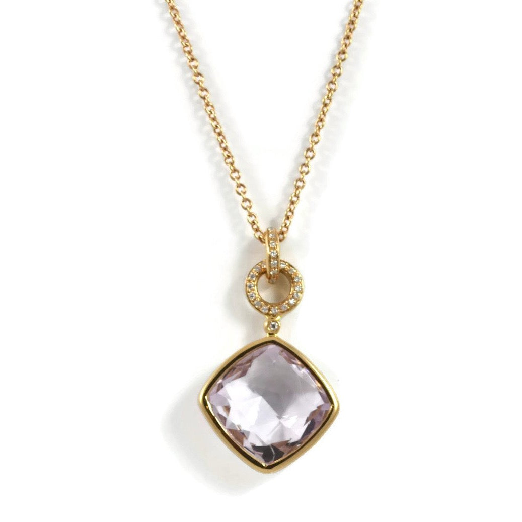 "A & Furst ""Jicky"" Pendant with Rose de France and Diamonds, 18k Rose Gold."