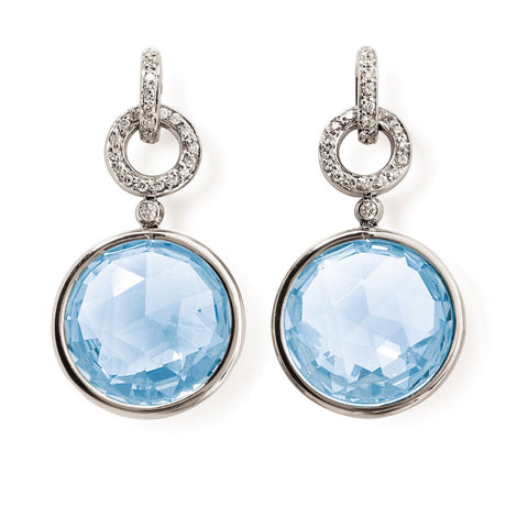 "A & Furst ""Jicky"" Drop Earrings with Blue Topaz and Diamonds, 18k White Gold."
