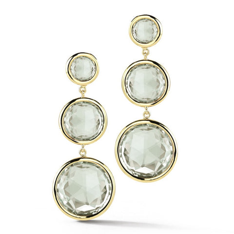 "A & Furst ""Jicky"" Drop Earrings with Prasiolite, 18k Yellow Gold."