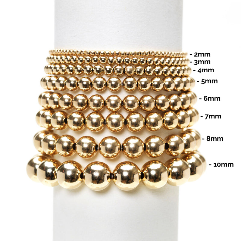 Karen Lazar  - 3 mm Yellow Gold Filled Bead Flex Bracelet with Diamond Bead