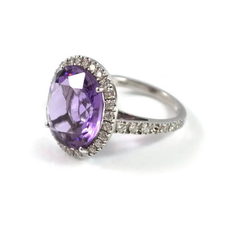 "A & Furst "" Le Grand Magnifique"" Ring with Amethyst and Diamonds, 18k White Gold."