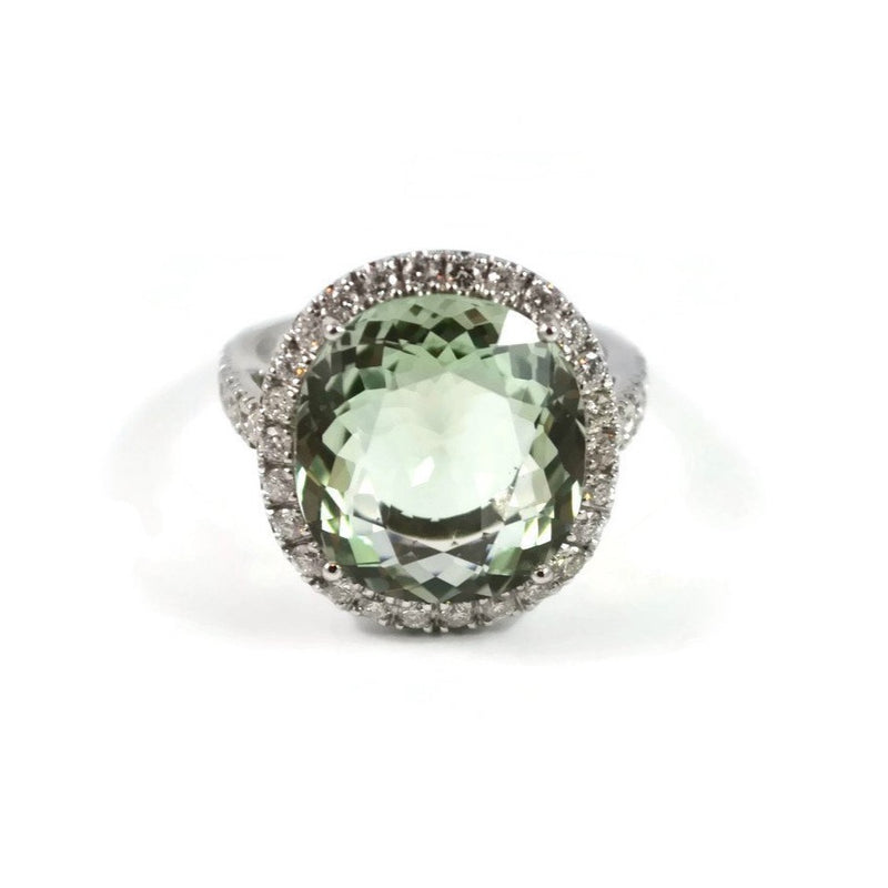 "A & Furst ""Le Grand Magnifique"" Ring with Green Amethyst (Prasiolite) and Diamonds, 18k White Gold."