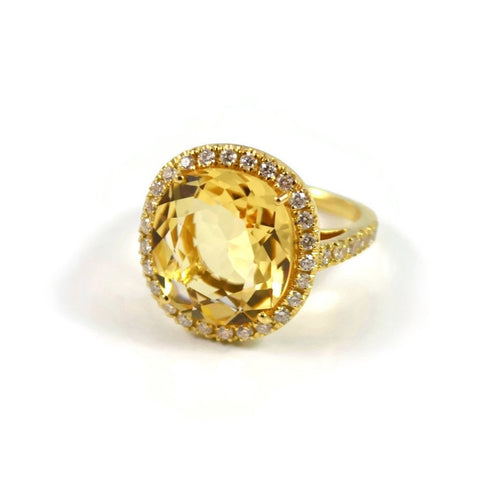 "A & Furst ""Le Grand Magnifique"" Ring with Citrine and Diamonds, 18k Yellow Gold."