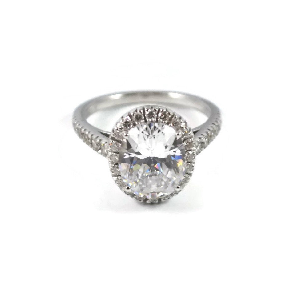 "A & Furst ""Le Magnifique"" Mounting Ring for Oval-cut Diamond, 18k White Gold."