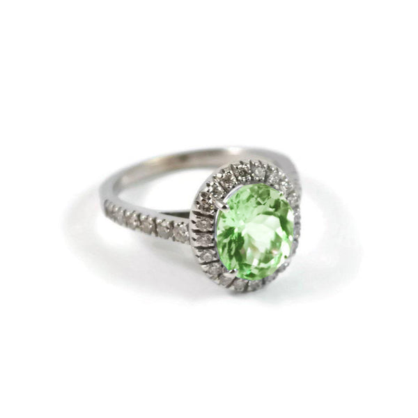 A & Furst - Le Magnifique - Ring with Tourmaline and Diamonds, 18k White Gold.