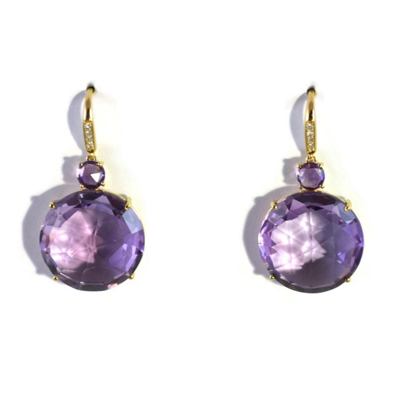 A & Furst - Lilies - Drop Earrings with Amethyst and Diamonds, 18k Yellow Gold.