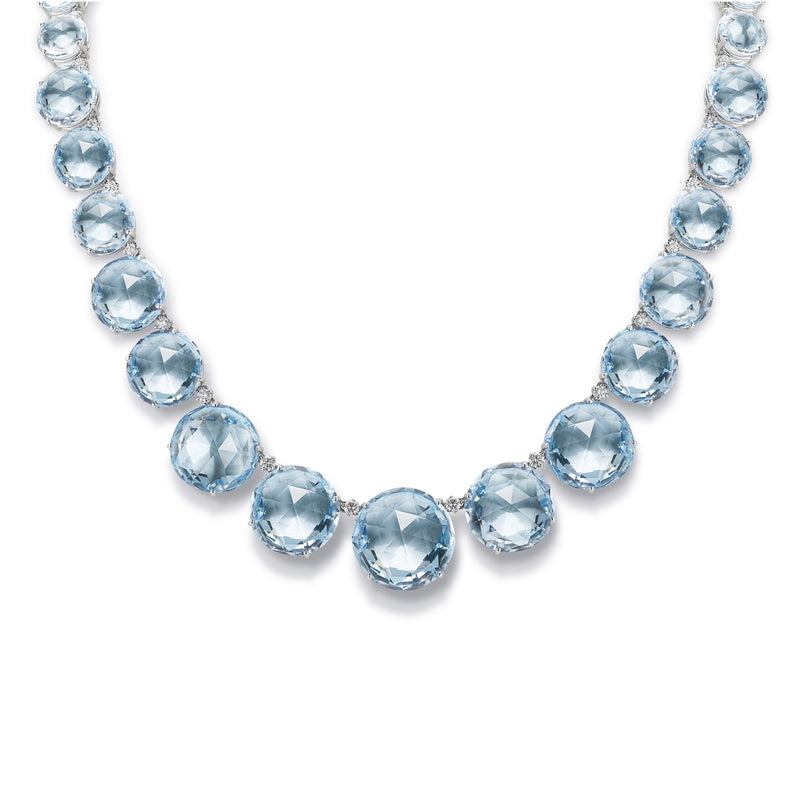 A & Furst - Lilies - Graduated Necklace with Blue Topaz and Diamonds, 18k White Gold