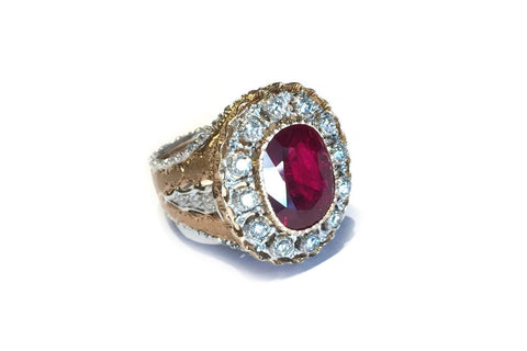 Mario Buccellati Estate Ring with Important Cushion-cut Ruby and Diamonds, 18k Yellow and White Gold.