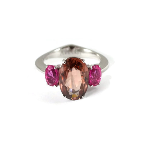 "A & Furst ""Marrakech"" 3 Stones Ring with Padparadsha Zircon and Rubellite (Tourmaline), 18k White Gold."