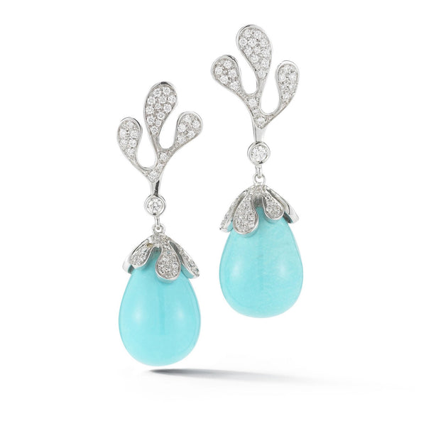 Miseno - Sea Leaf - Drop Earrings with Diamonds and Turquoise, 18k White Gold