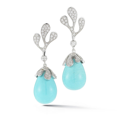 "Miseno ""Sea Leaf"" Drop Earrings with Diamonds and Turquoise, 18k White Gold."