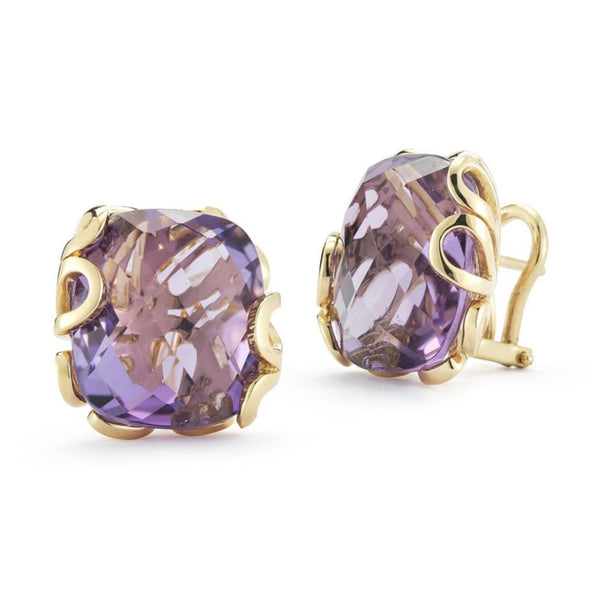 "Miseno ""Sea Leaf"" Clip Earrings with Amethysts, 18k Yellow Gold"