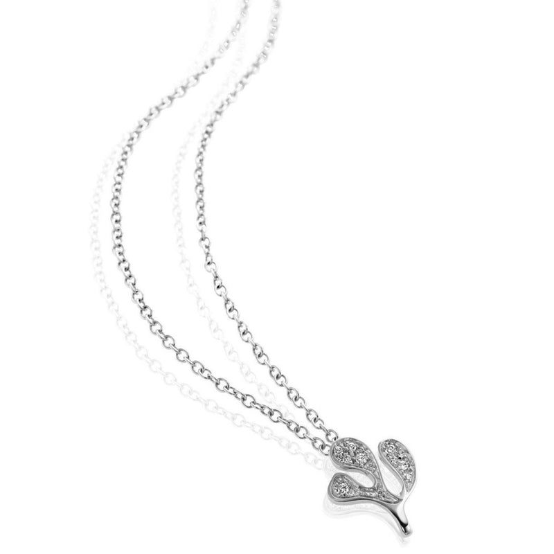 Miseno - Sea Leaf - Pendant Necklace with Diamonds, 18k White Gold