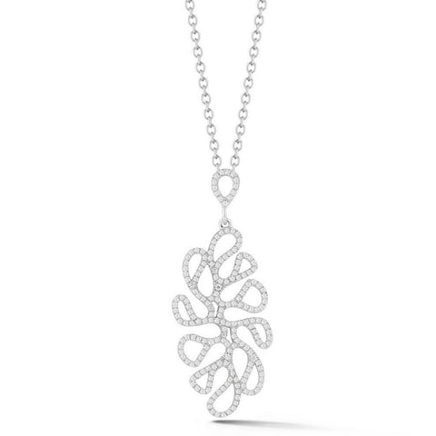 "Miseno ""Sea Leaf"" Pendant Necklace with Diamonds, 18k White Gold."