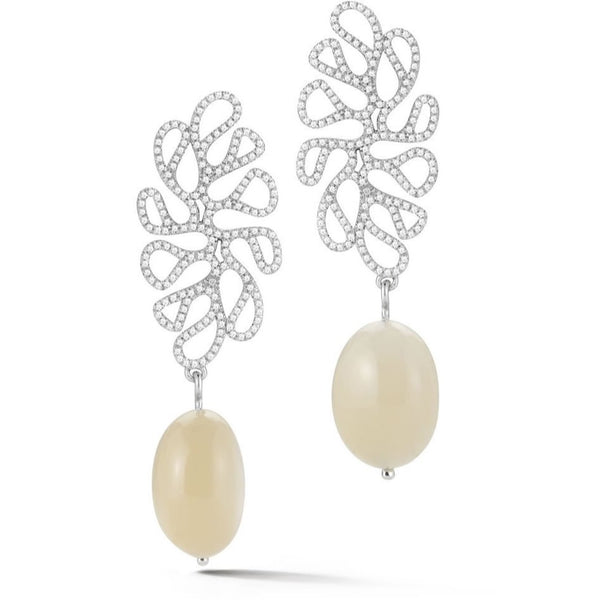 Miseno - Sea Leaf - Drop Earrings with Diamonds and Moonstones, 18k White Gold