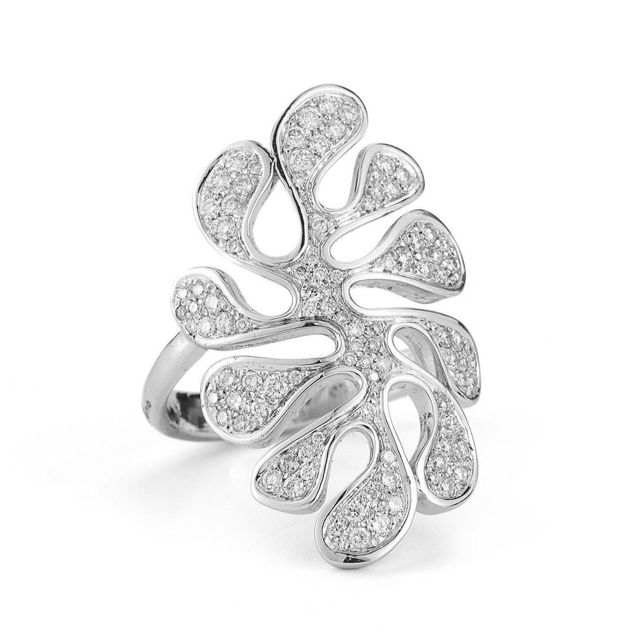 "Miseno ""Sea Leaf"" Ring with Diamonds, 18k White Gold."