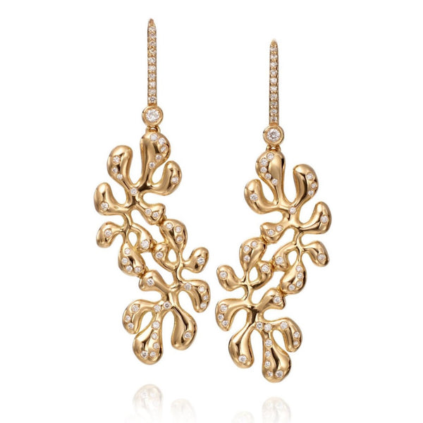 Miseno - Sea Leaf - Drop Earrings with Diamonds, 18k Yellow Gold