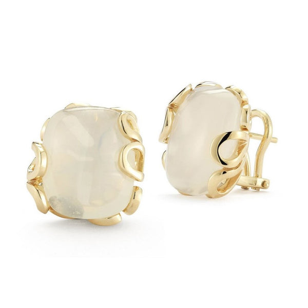 "Miseno ""Sea Leaf"" Clip Earrings with Moonstones, 18k Yellow Gold"