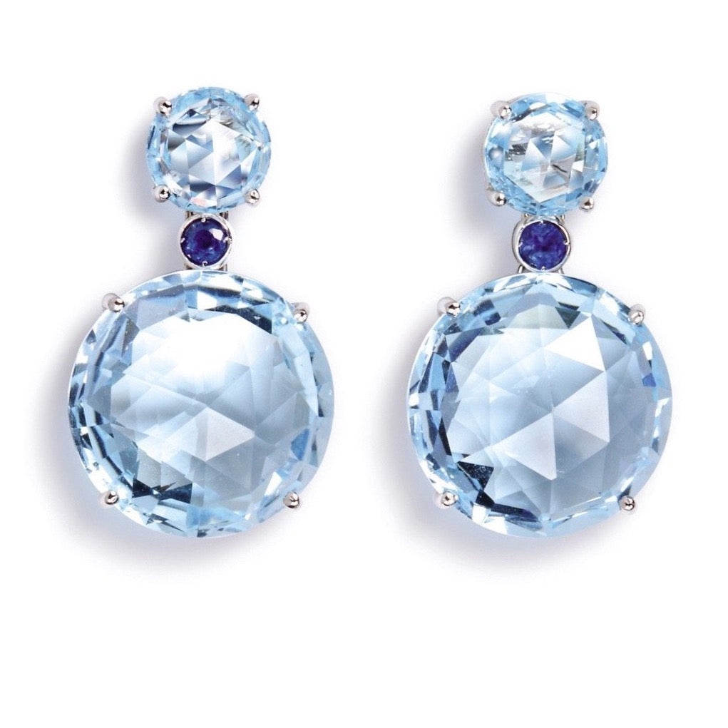 "A & Furst ""Bouquet"" Drop Earrings with Blue Topaz and Blue Sapphires, 18k White Gold."