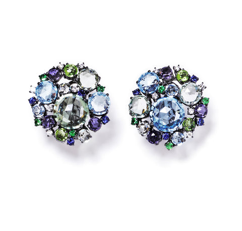 "A & Furst ""Bouquet"" Large Cluster Earrings with Blue Topaz, Prasiolite, Peridot, Iolite, Tsavorite Garnet, Blue Sapphire and Diamonds, 18k White Gold with Black Rhodium."