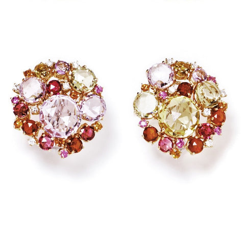 "A & Furst ""Bouquet"" Cluster Earrings with Rose de France, Citrine, Pink Tourmaline, Madera Citrine, Orange Sapphires, Pink Sapphires and Diamonds, 18k Rose Gold."
