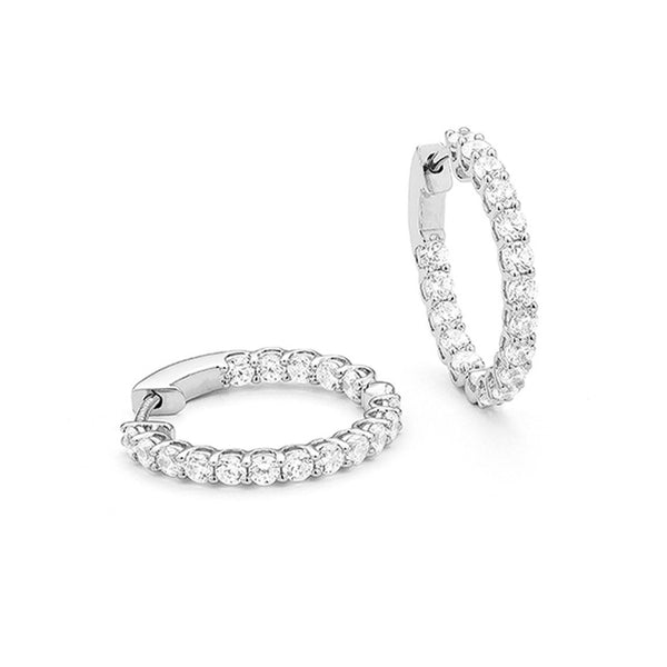 AFJ Diamond Collection - Diamond Hoop Earrings, 18k White Gold