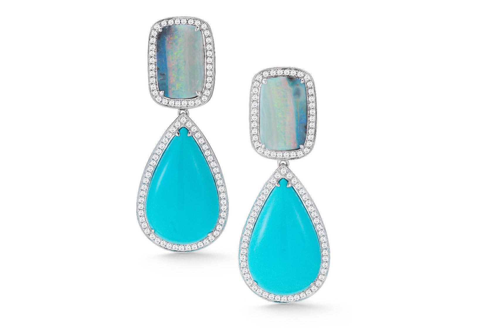 AF Collection - One of a Kind Drop Earrings with Turquoise, Boulder Opals and Diamonds, White Gold