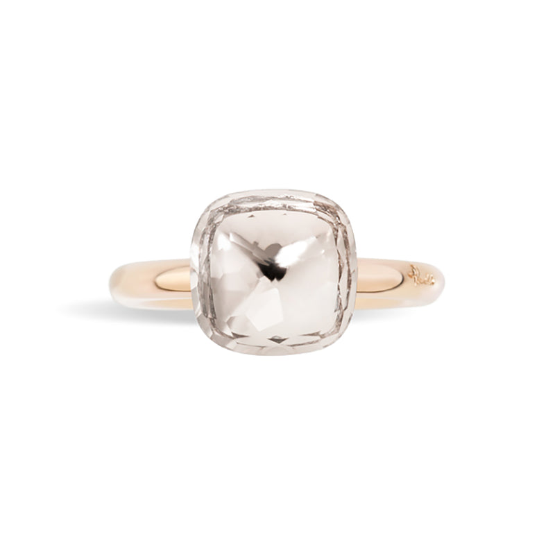 Pomellato - Nudo Classic- Stackable Ring with Colorless Topaz, 18k Rose and White Gold