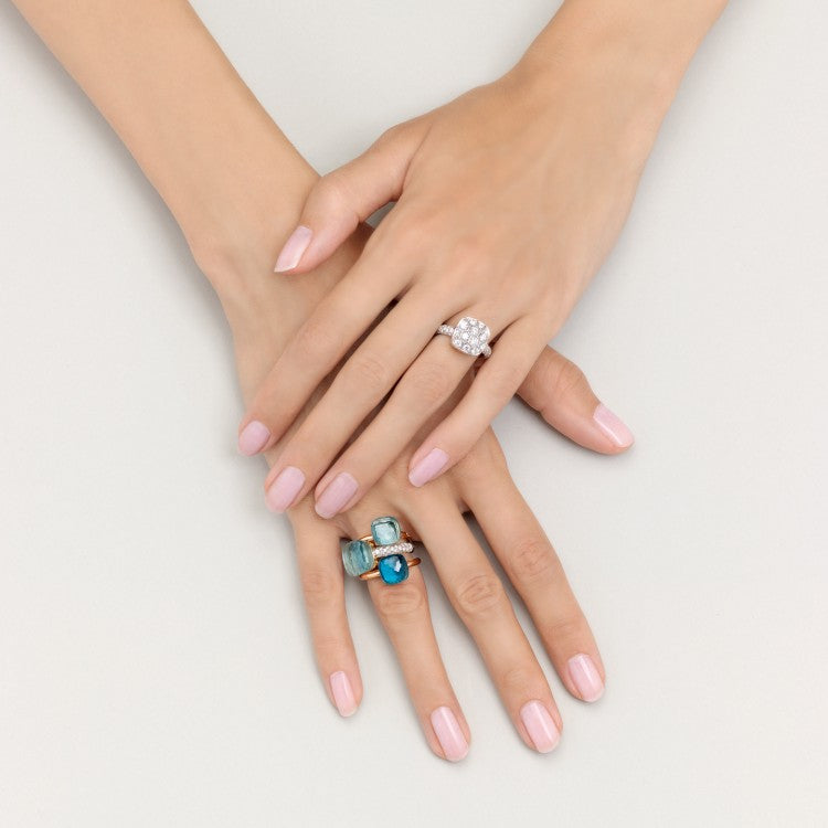 Pomellato Nudo Petit Ring in White and Rose Gold with Blue