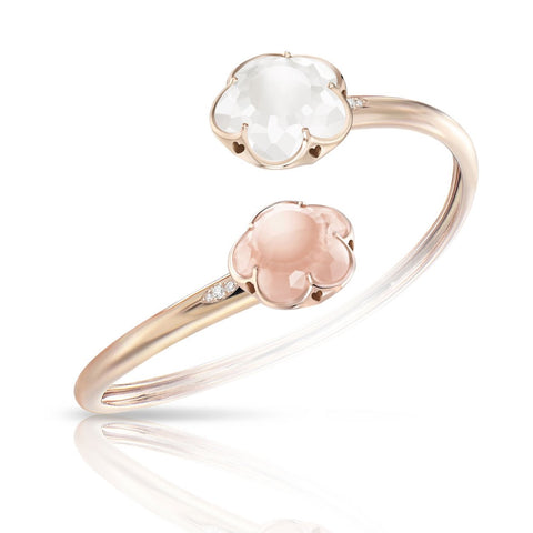 Pasquale Bruni Bon Ton Bracelet, 18k Rose Gold with Pink Quartz and Milky Quartz and Diamonds