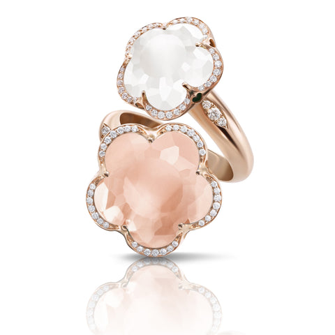 Pasquale Bruni Bon Ton Ring, 18k Rose Gold with Pink and Milky Quartz and Diamonds