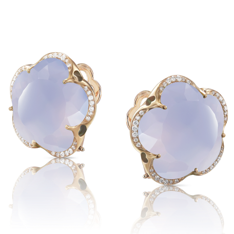 Pasquale Bruni Bon Ton Earrings, 18k Rose Gold with Calcedony and Diamonds