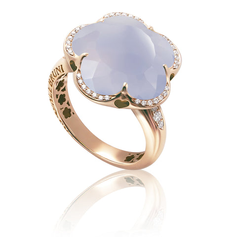 Pasquale Bruni Bon Ton Ring, 18k Rose Gold with Chalcedony and Diamonds