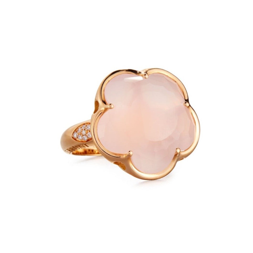 Pasquale Bruni Bon Ton Ring, 18k Rose Gold with Pink quartz and Diamonds