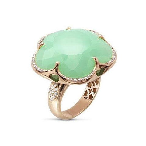 Pasquale Bruni Bon Ton Ring, 18k Rose Gold with Chrysoprase and Diamonds
