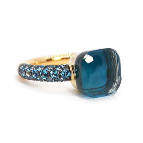 Pomellato - Nudo - Classic Stackable Ring with London Blue Topaz,Turquoise, 18k Rose and White Gold
