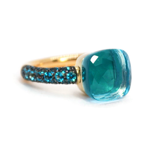 Pomellato - Nudo - Classic Stackable Ring with Sky Blue Topaz, Agate, 18k Rose and White Gold