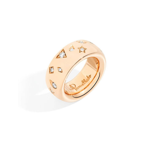 Pomellato - Iconica Medium Band Ring with Diamonds, 18k Rose Gold