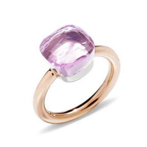 "Pomellato ""Nudo"" Stackable Ring with Rose de France, 18k Rose and White Gold."