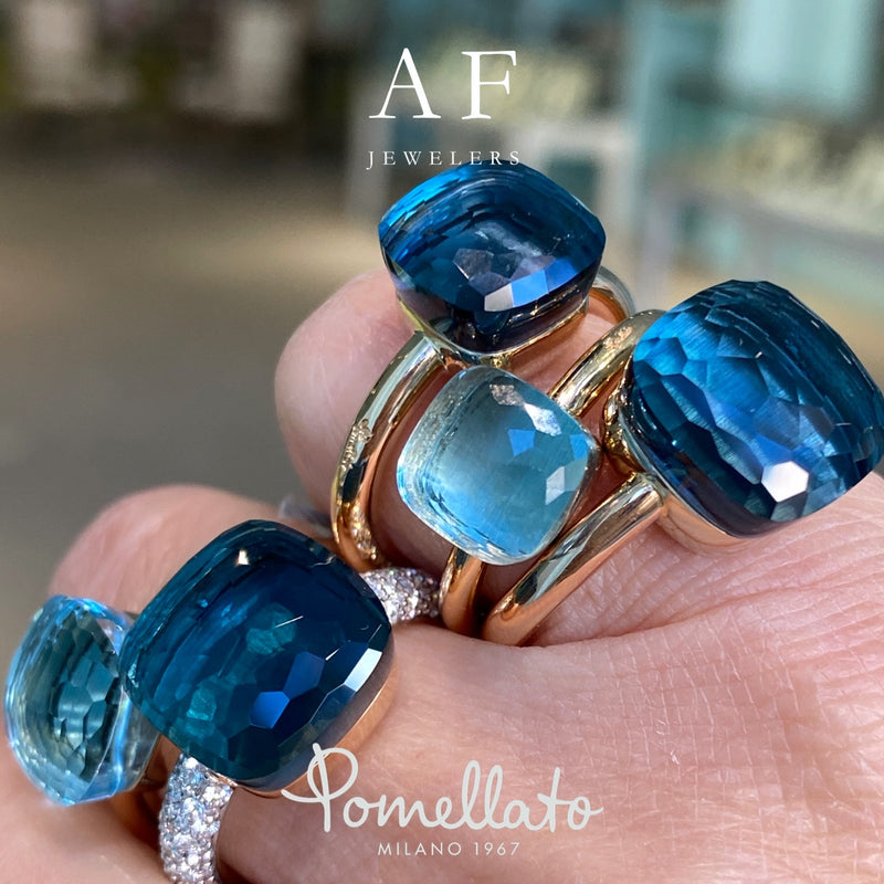 Pomellato - Nudo Classic - Stackable Ring with Blue Topaz, 18k Rose and White Gold