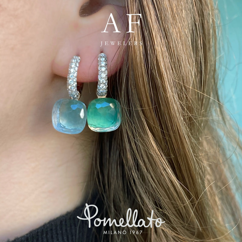 NEW! Pomellato - Nudo Classic - Earrings with Blue Topaz on White Agate and Diamonds, 18k White and Rose Gold