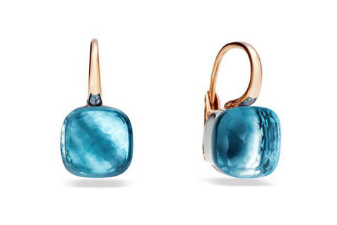 "Pomellato ""Nudo"" Earrings with Blue Topaz, 18k Rose and White Gold."